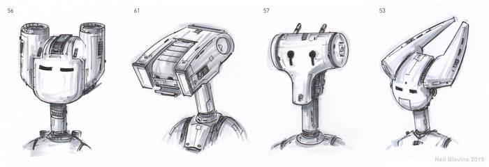 Robot Heads F Line Sketch