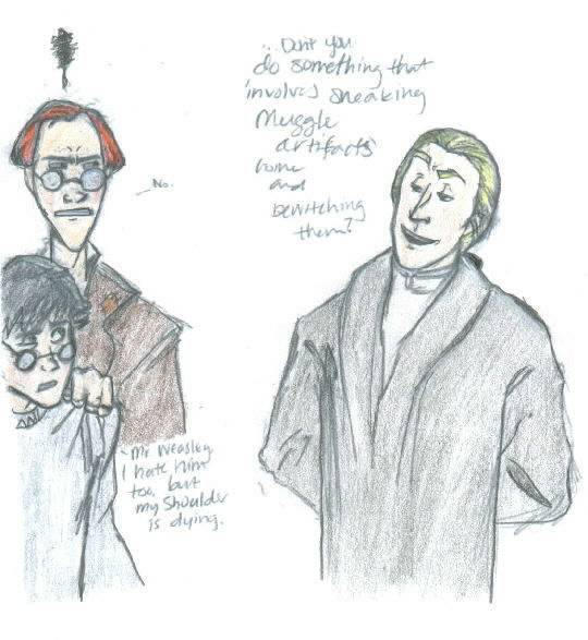 Harry, Lucius, Mr. Weasley by legalien