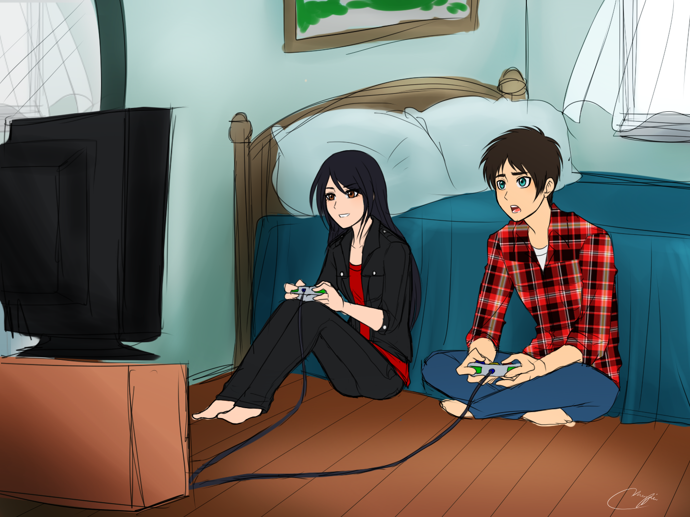 Playing Video Games Eren X Veena