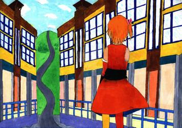 Drawing - Momo between perspective buildings