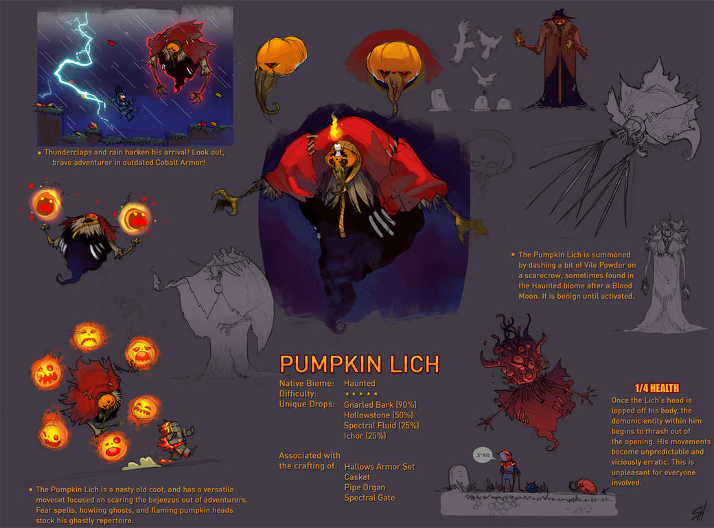 Terraria Boss - Pumpkin Lich. by Endling