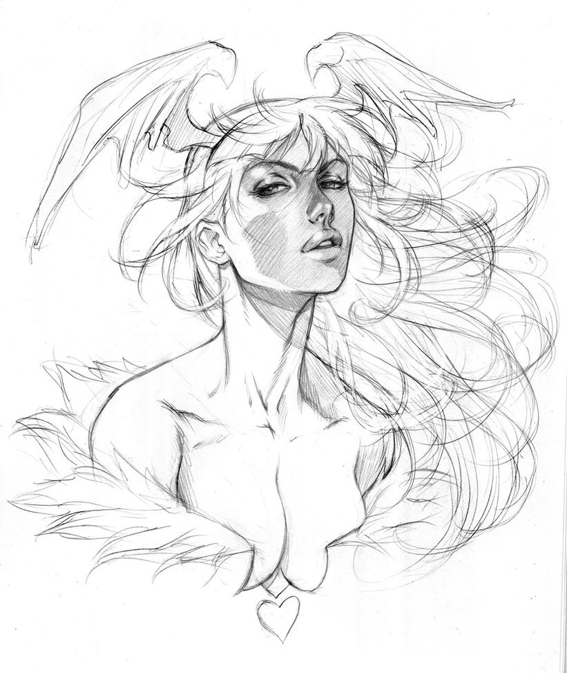 Morrigan - Practice Sketch by alvinlee