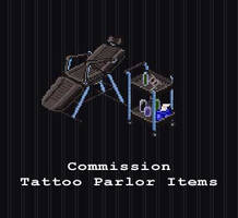 COMMISSION - Tattoo Parlor Items by PointyHat