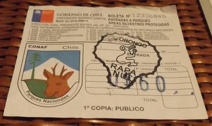 Orongo National Park visitor stamp