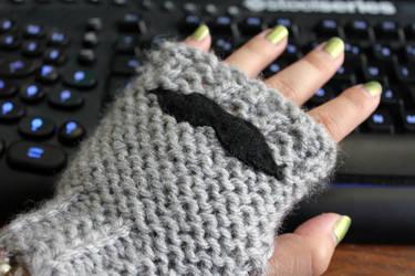 Mustache fingerless gloves by CakeFruit