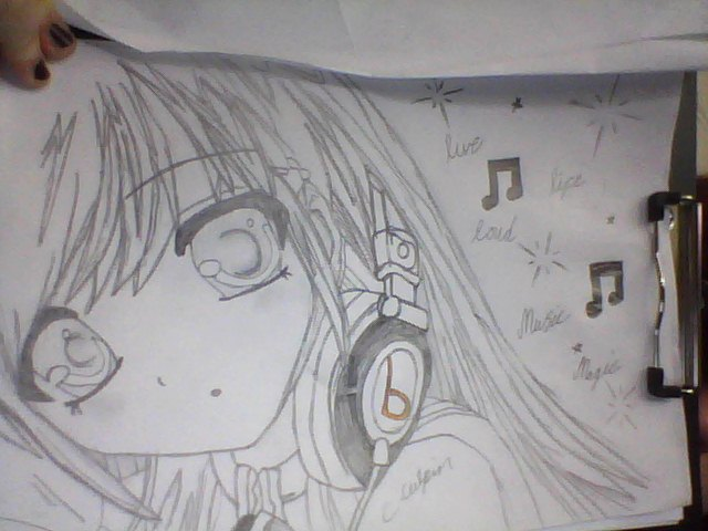Anime girl with headphones by cupcakedulxe124