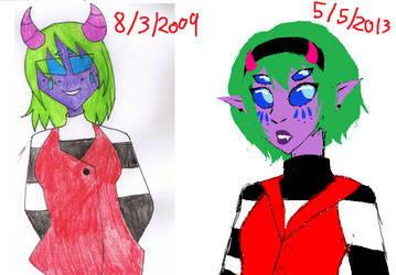 Jenny 2009 and 2013 by babydevilkilly