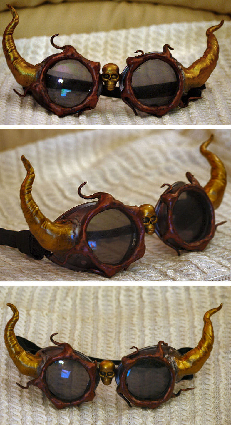 Steampunk Demon Goggles by ajldesign