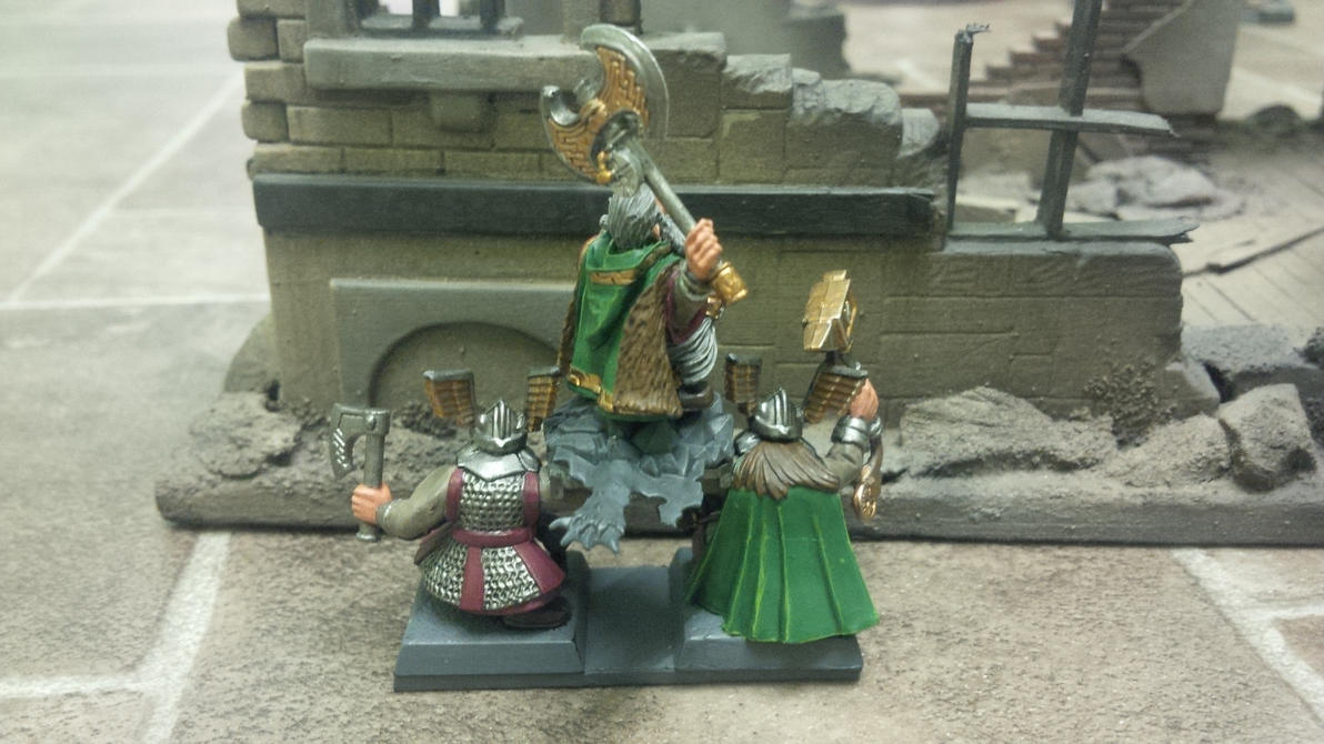 Warhammer Dwarf Lord on Shieldbearers by SirPerryBerry