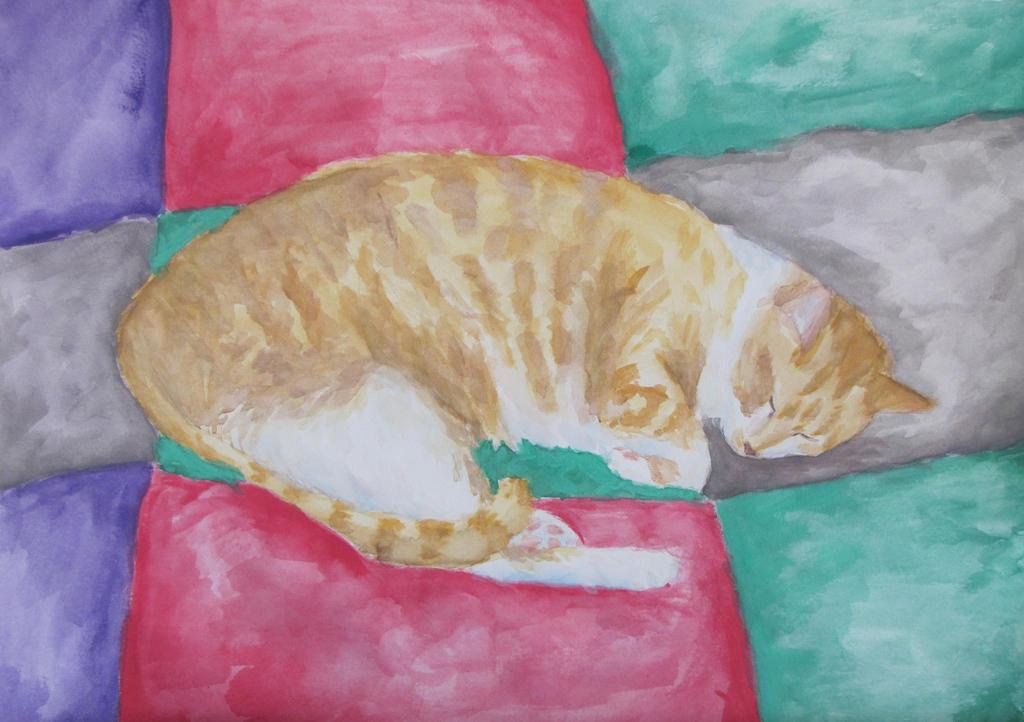 Cat Sleeping on Comforter by PumpkinJack6