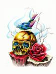 skull and bird tattoo designs