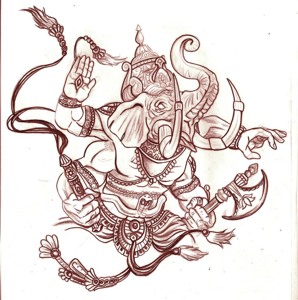 ganesh head tattoo outline - photo #18