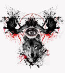 crows and wolf tattoo design