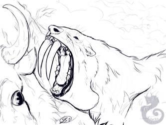 Smilodon Sketch by Kasaurus