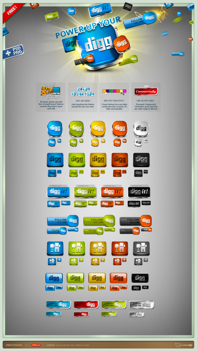 Vector HQ Digg Buttons by artbees