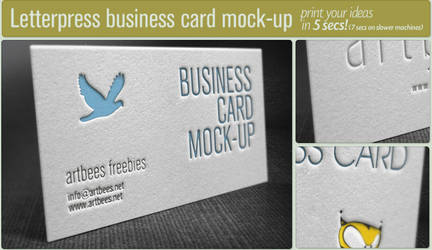 Free letterpress business card mockup