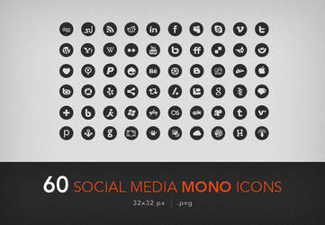 60 social media mono icons by artbees