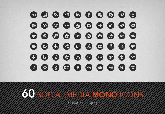 60 social media mono icons by artbees