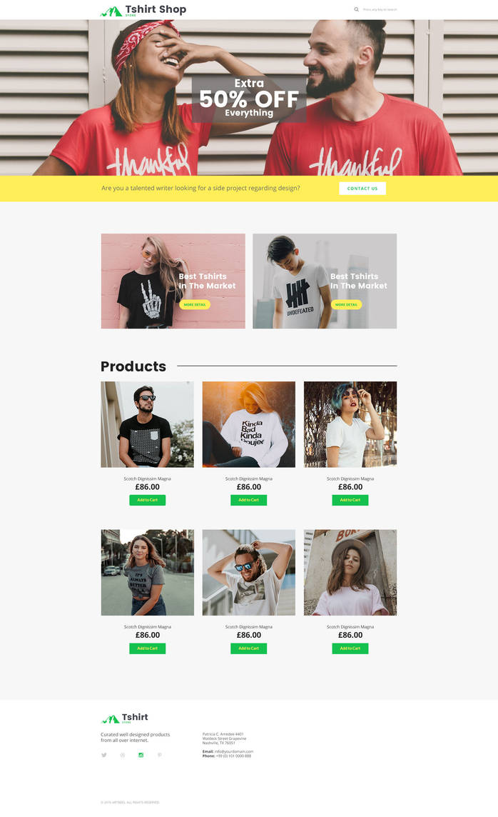 Free T-Shirt Shop Template Webpage by artbees