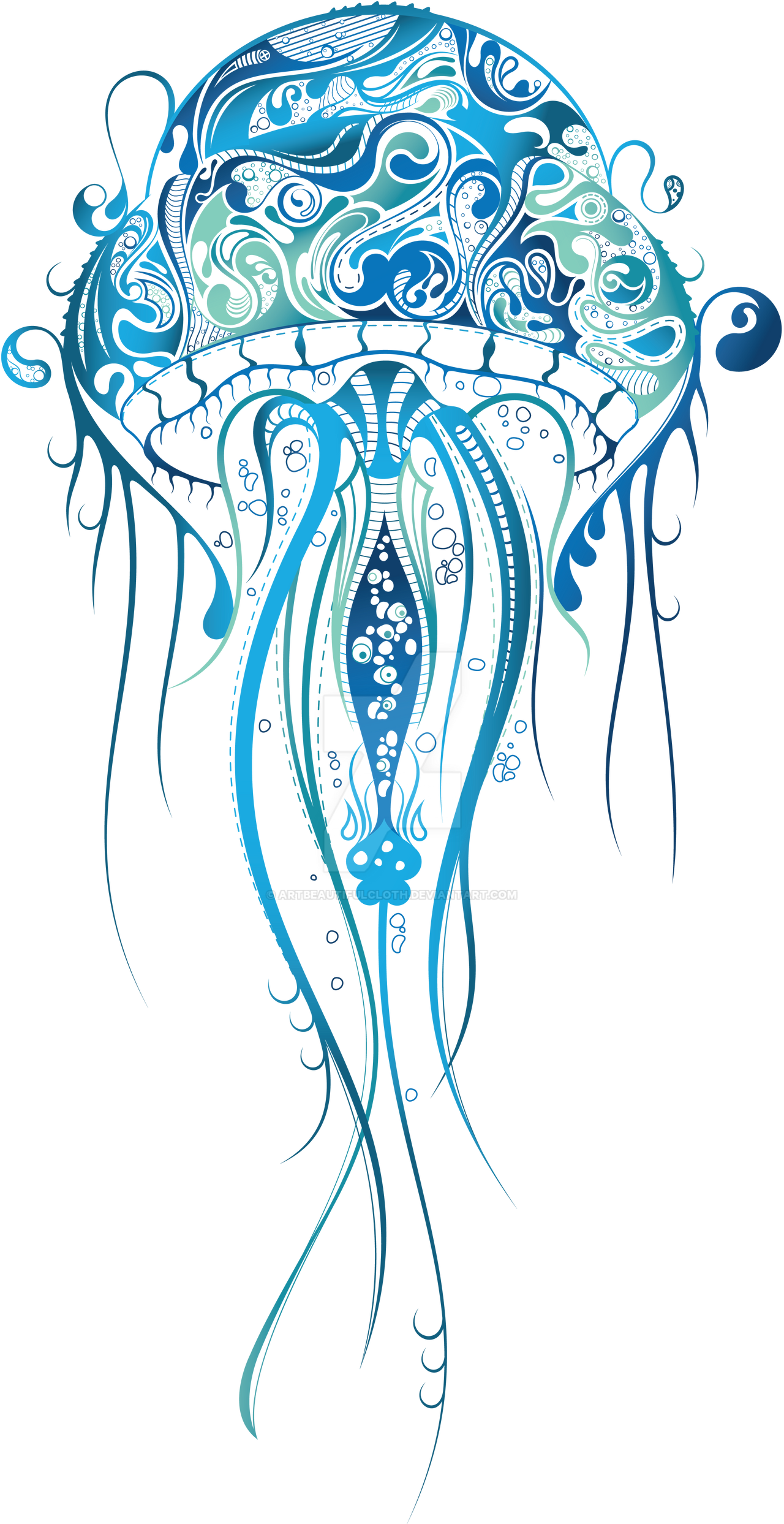 Blue jellyfish by artbeautifulcloth on deviantart for Jelly fish art