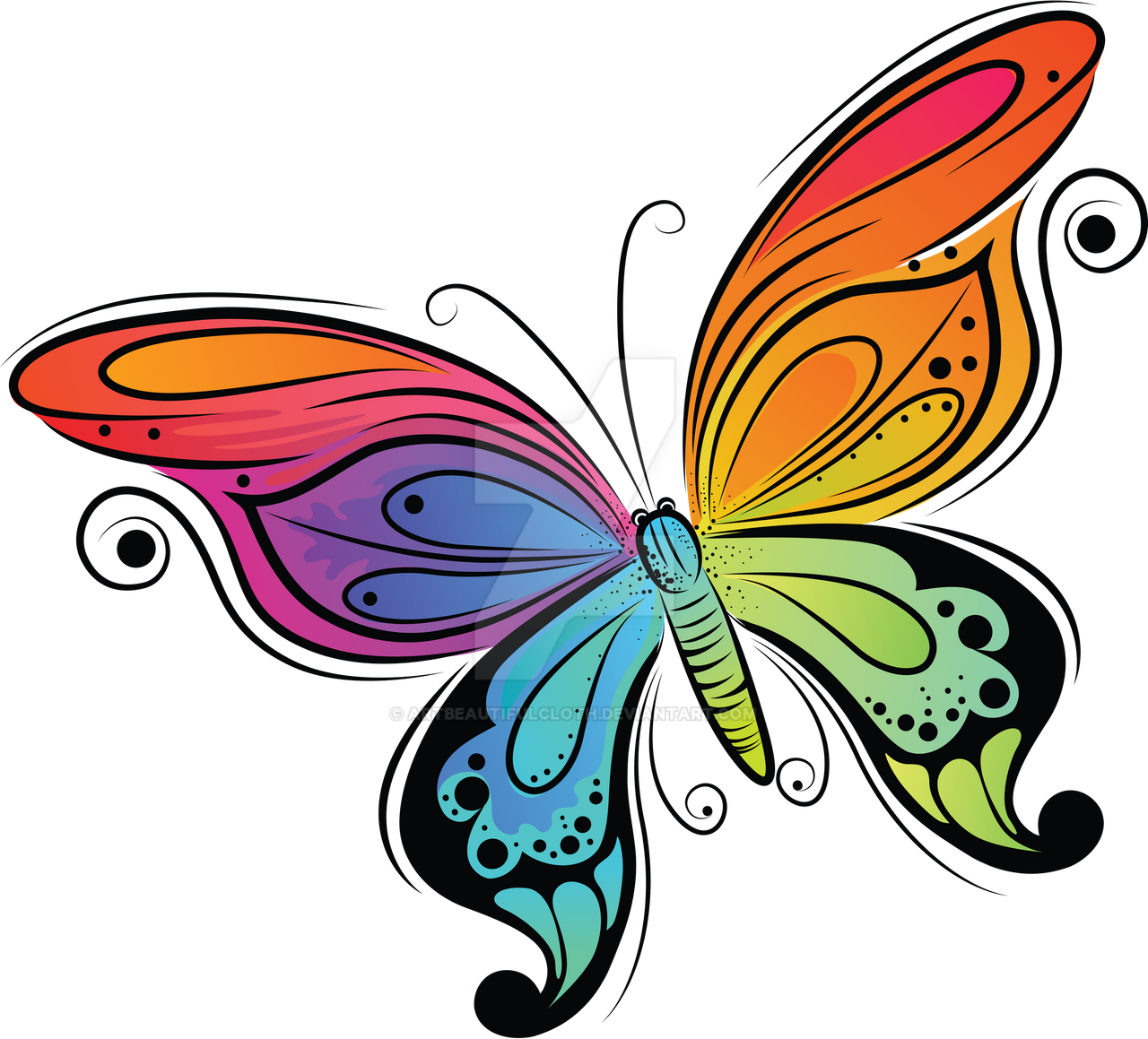 Butterfly Drawings: Colorful Butterfly By Artbeautifulcloth On DeviantArt