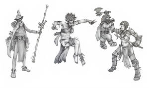Collage Characters B+W by SLKestrel
