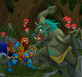 Fergus VS A Troll by DreadHaven