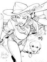 $25 Sketch-- Cowgirl by TV-TonyVargas