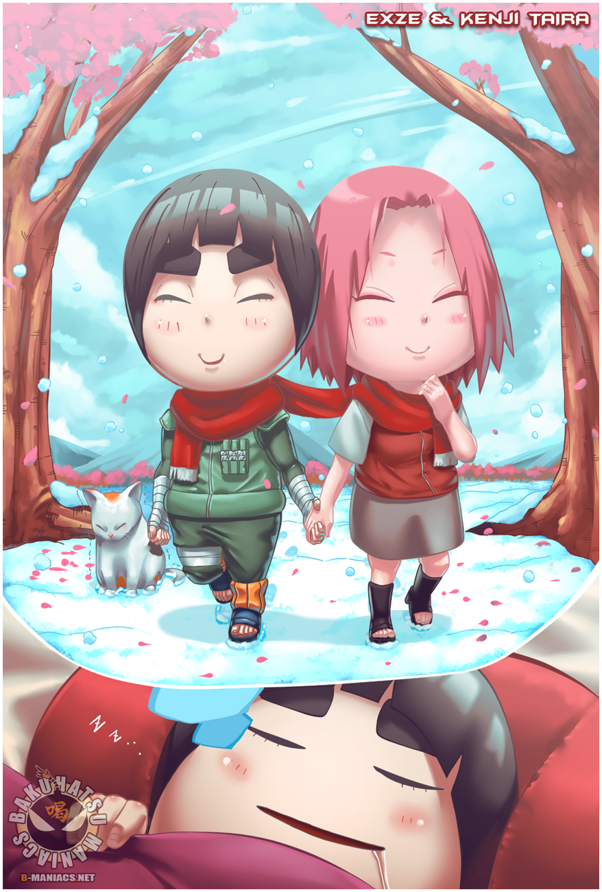 Rock Lee and Sakura by eXze