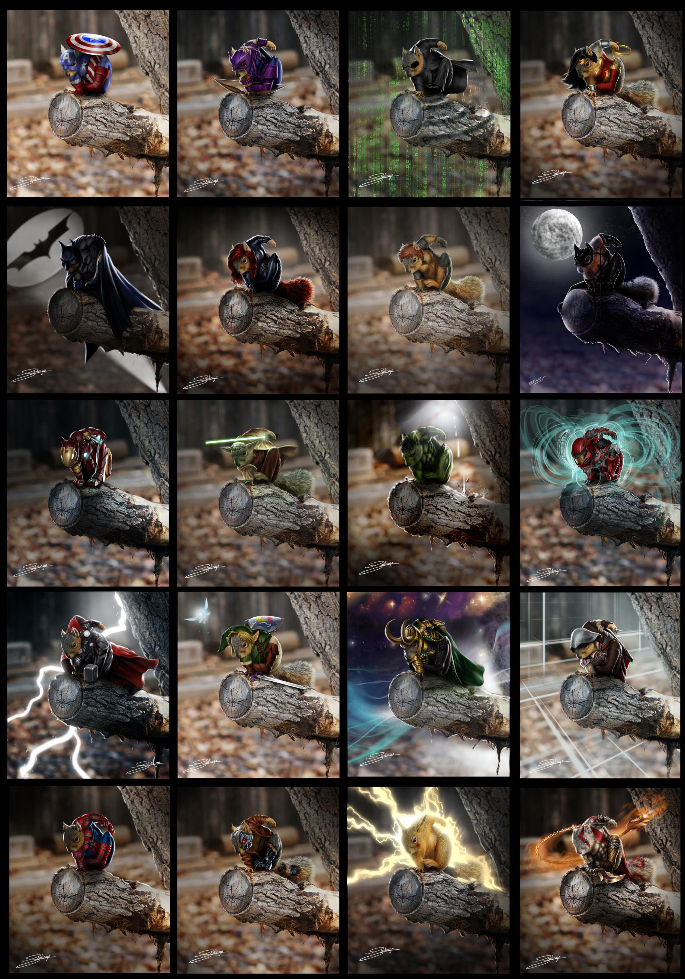 epic squirrels by Santiago-Perez