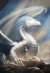 Mighty White Dragon by Santiago-Perez