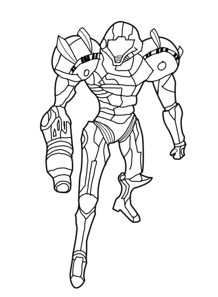samus aran line art by helpme2000 on DeviantArt