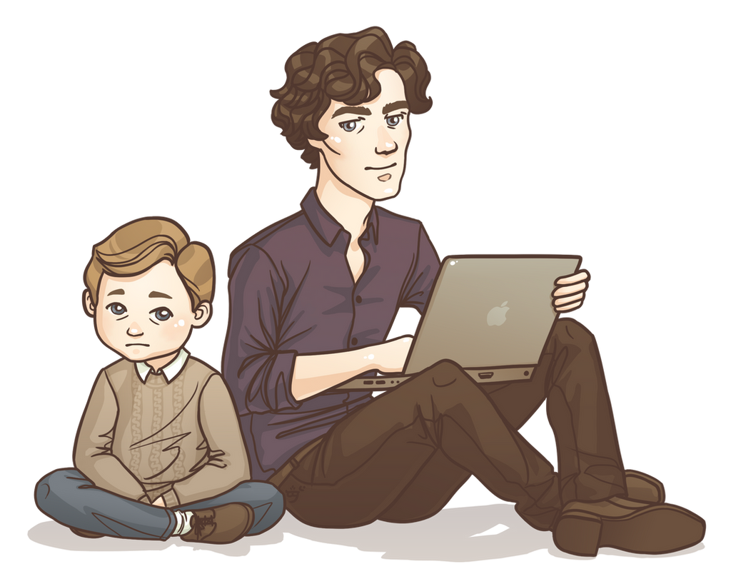 Wee John and Sherlock by Galadnilien