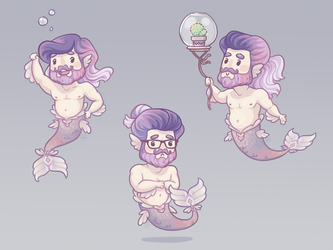 Tiny Hipster Mermen by Galadnilien