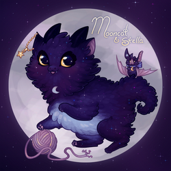Mooncat and Stella by Galadnilien