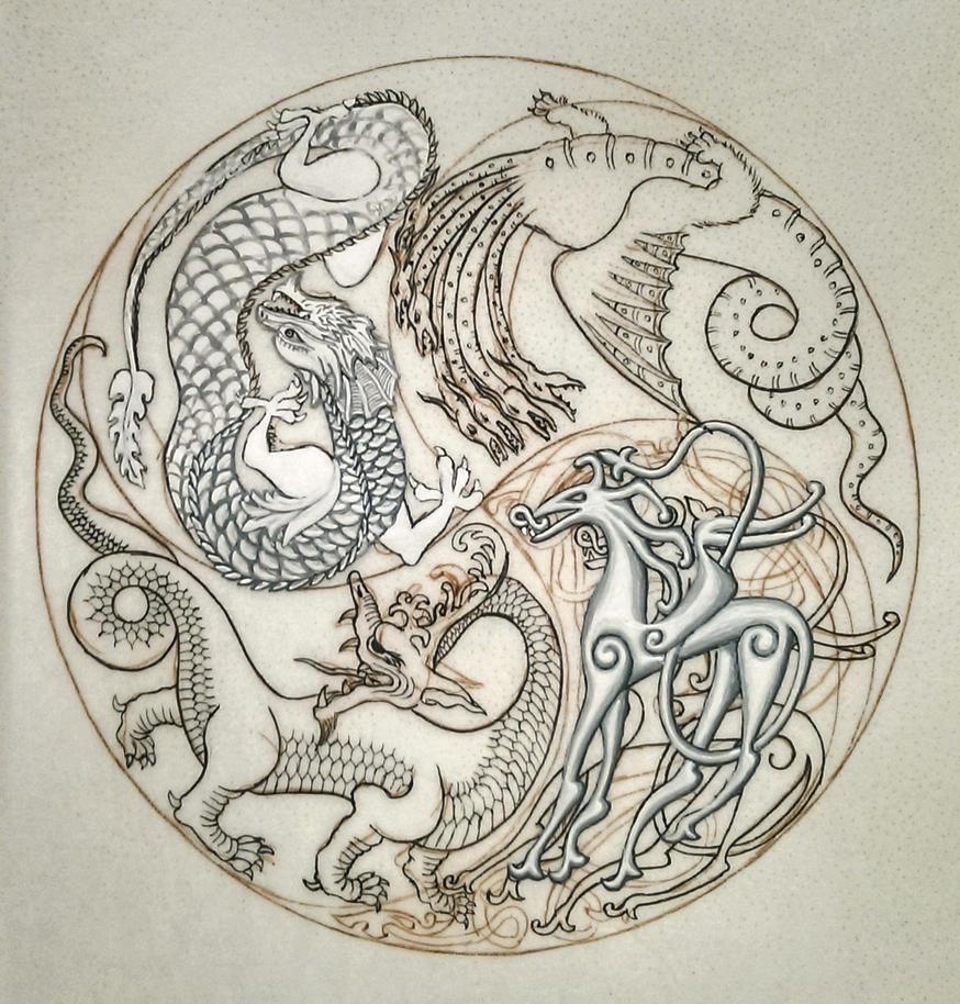 Dragon Mandala WIP 1 by nikeyvv