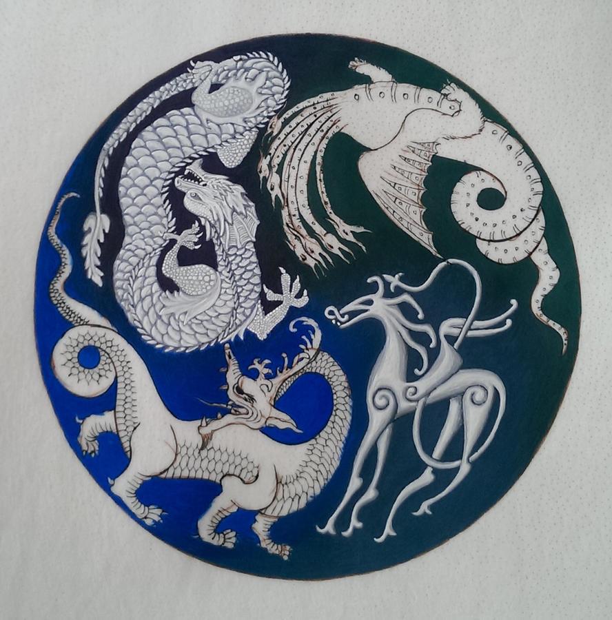 Dragon Mandala WIP 4 by nikeyvv