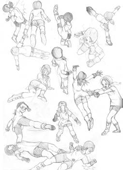 Various Videl Sketches - Fight