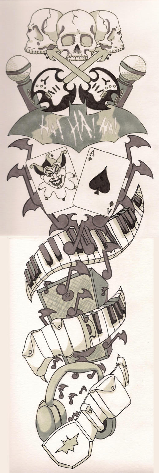 Batman music sleeve tattoo by therealpeterparker on deviantart for Random tattoo sleeve