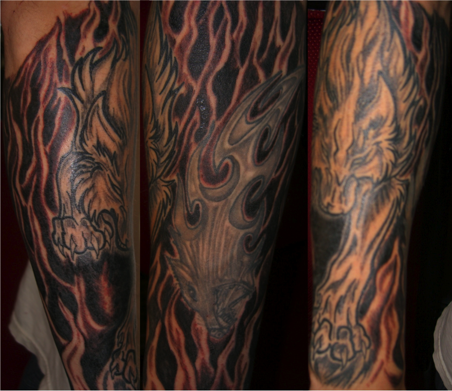 wolf tattoo half sleeve by mindfreak9 on deviantart. Black Bedroom Furniture Sets. Home Design Ideas