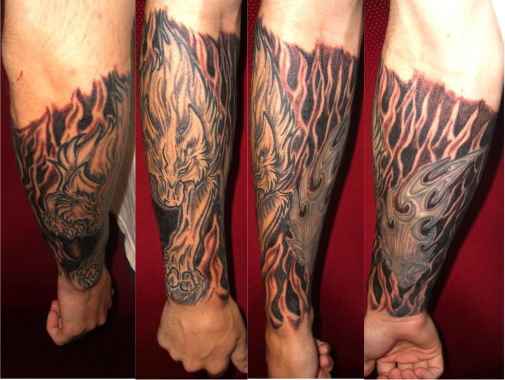 wolf tattoo half sleeve 2 by mindfreak9 on deviantart. Black Bedroom Furniture Sets. Home Design Ideas