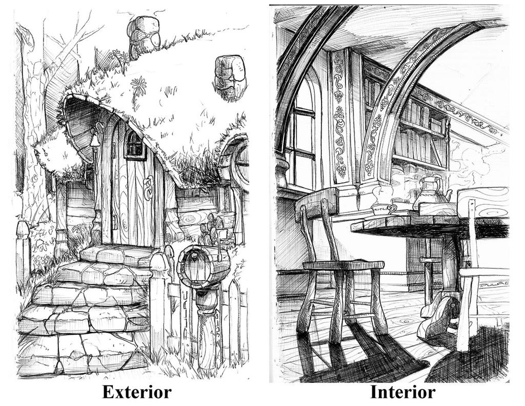 Hobbit hole by magnuson24 on deviantart for Hobbit house drawings
