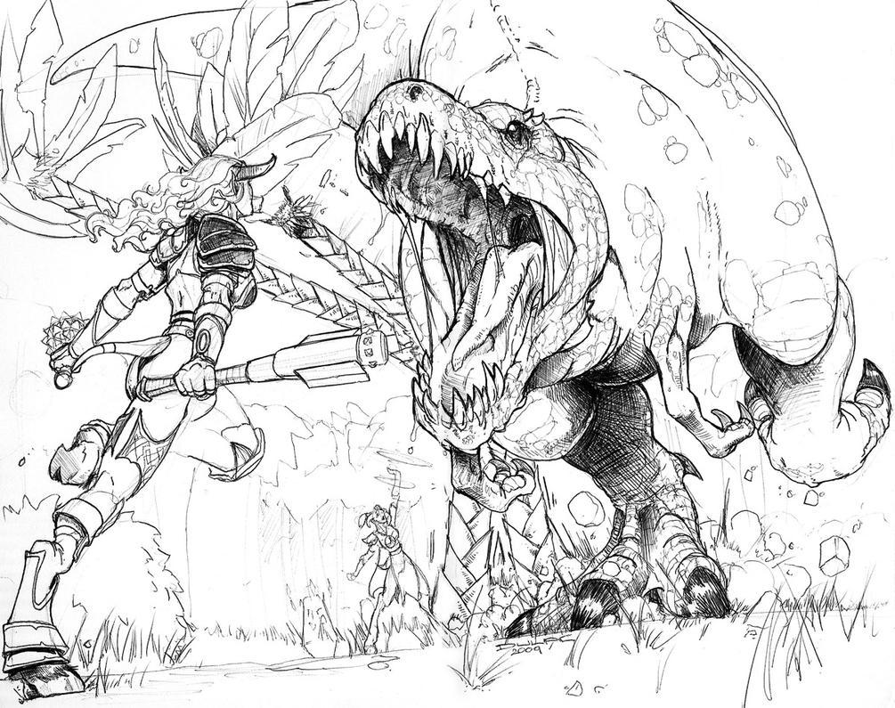 Draenai vs Trex by Magnuson24