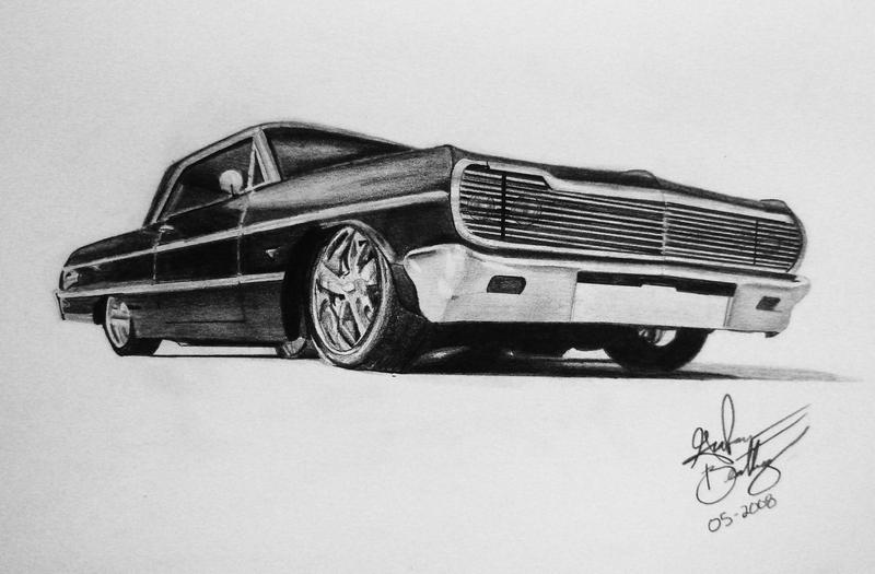64 impala lowrider drawings