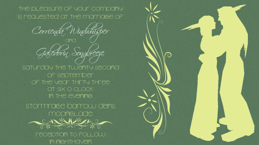 Night Elf Wedding Invitation by corrienda