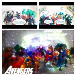 JLA vs. Avengers comic page collage 1 by BygBPryme