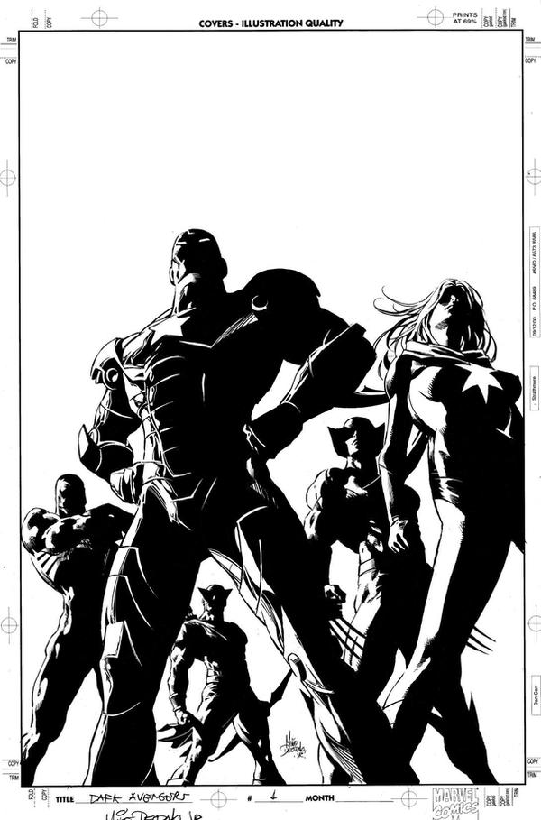 Dark Avengers by Mike Deodato Jr black and white