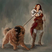 Warrior with fierce dog by TheArtOfVero