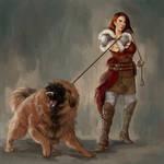 Warrior with fierce dog