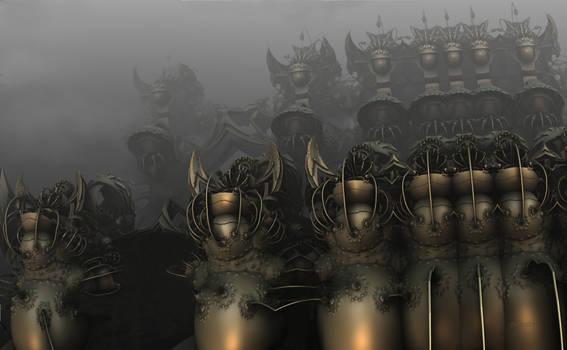 Fog and rain over the samurai`s castle